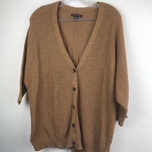 AEO Sweater Solid Brown SZ XS NWOT Button Up